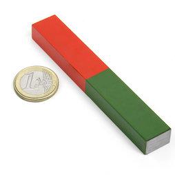 EDU-8, Barra magnética larga, 100 x 15 mm, de AlNiCo5, pintado de rojo y verde