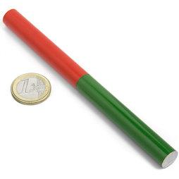 EDU-9, Barra magnética cilíndrica, 150 x 12 mm, de AlNiCo5, pintado de rojo y verde