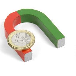 EDU-3, Herradura pequeña, 50 x 40 mm, de AlNiCo5, pintado de rojo y verde