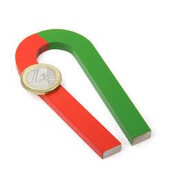 EDU-6, Herradura magnética estrechada, 100 x 48 mm, de AlNiCo5, pintado de rojo y verde
