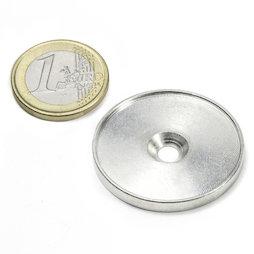 MSD-33, Disco metálico con borde y taladro avellanado M4, Diámetro interior 33 mm, como contrapieza para imanes. ¡No es un imán!