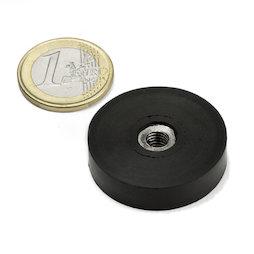 ITNG-32, imán en recipiente de goma, con rosca interior M6, Ø 36 mm