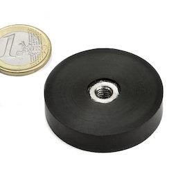 ITNG-40, imán en recipiente de goma, con rosca interior M6, Ø 45 mm