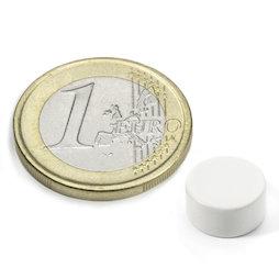 S-10-05-E/white, Color blanco, Disco magnético Ø 10 mm, alto 5 mm, neodimio, N42, con recubrim. epoxi