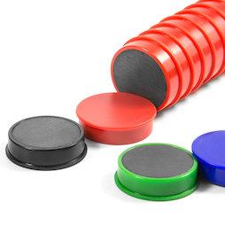 M-OF-RD30, Tafelmagnete aus Ferrit, plastifiziert, 10er-Set, in verschiedenen Farben