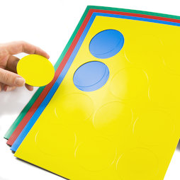 BA-014CI, Círculos magnéticos grandes, para pizarras blancas y de planificación, 12 símbolos por hoja A4, en diferentes colores