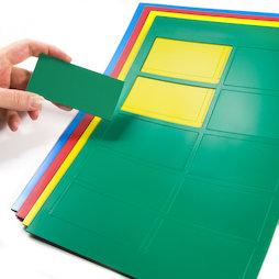 BA-014RE, Rectángulos magnéticos grandes, para pizarras blancas y de planificación, 10 símbolos por hoja A4, en diferentes colores