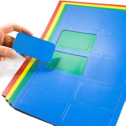 BA-014BR, Bocadillo magnético rectangular, para pizarras blancas y de planificación, 10 símbolos por hoja A4, en diferentes colores