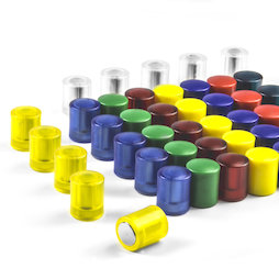 M-PC, Imanes de pizarra cilíndricos, imanes de neodimio con tapa de plástico, Ø 14 mm, en diferentes colores