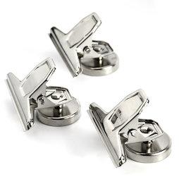 M-86, Pinzas magnéticas, plateadas, de metal, 3 uds.