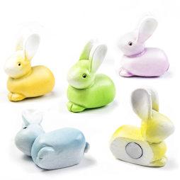 LIV-126, Coniglietti, magneti decorativi a forma di coniglietti, colorati, set da 5