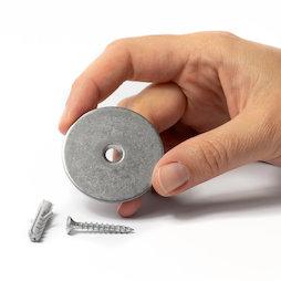 M-DOOR-03, Set de imanes para sujetapuertas, disco metálico con taladro avellanado, para atornillar en el suelo o la pared
