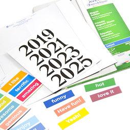 MIP-A4-03, Etiquetas magnéticas imprimibles, para estantes metálicos, pizarras blancas, etc., en diferentes tamaños