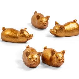 LIV-132, Cerditos dorados, imanes decorativos con forma de cerdito, 5 uds.