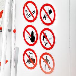 MS-W, Prohibiciones magnéticas, diferentes señales de prohibición