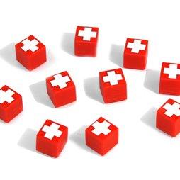 AG-01, Swiss Cube, imanes decorativos rojos con cruz suiza
