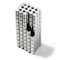 S-02-02-N, Disco magnético Ø 2 mm, alto 2 mm, neodimio, N48, niquelado