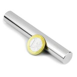 S-15-100-N, Cilindro magnético Ø 15 mm, alto 100 mm, neodimio, N35, niquelado