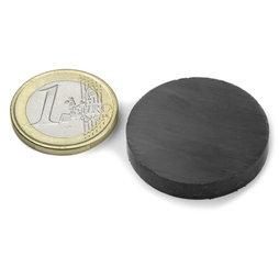 FE-S-30-05, Disco magnético Ø 30 mm, alto 5 mm, ferrita, Y35, sin revestimiento