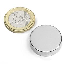 S-25-07-N, Disco magnético Ø 25 mm, alto 7 mm, neodimio, N42, niquelado