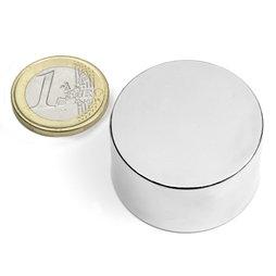 S-35-20-N, Disco magnético Ø 35 mm, alto 20 mm, neodimio, N45, niquelado