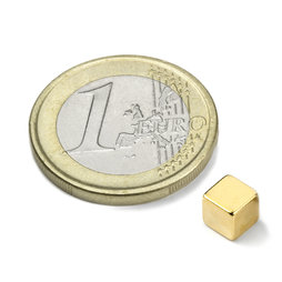 W-05-G, Cubo magnético 5 mm, neodimio, N42, dorado