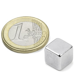 W-10-N, Cubo magnético 10 mm, neodimio, N42, niquelado