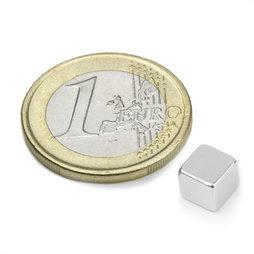 W-06-N, Cubo magnético 6 mm, neodimio, N42, niquelado