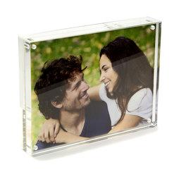 FRM-02, Marco de fotos 15 x 11${dec}5 cm, con cierre magnético, de cristal acrílico (transparente), para formato horizontal y vertical